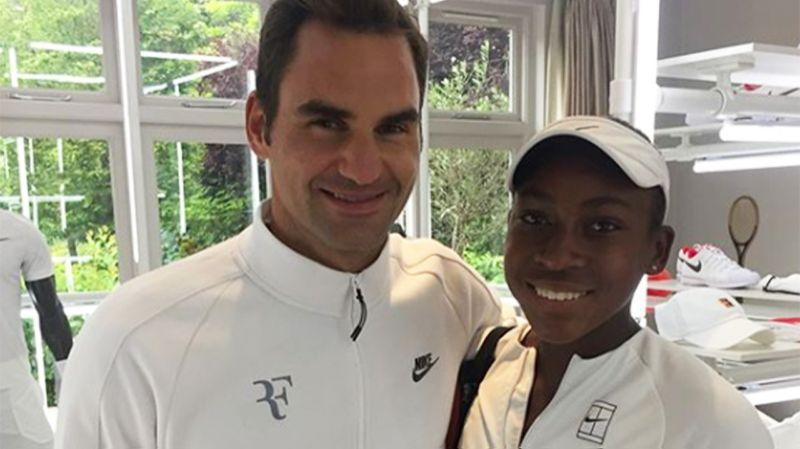 Roger Federer and Cori Gauff met at Wimbledon. (Image: @Cocogauff)