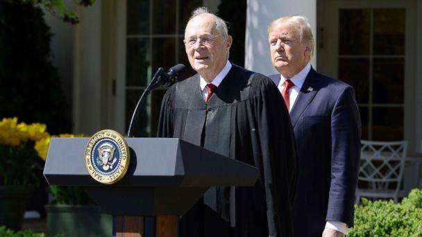 PHOTO: Justice Anthony Kennedy speaks as President Donald trump looks on before Neil Gorsuch is swearing in as an Associate Justice of the Supreme Court during a ceremony at the White House Rose Garden, April 10, 2017, in Washington. (Polaris/Newscom, FILE)