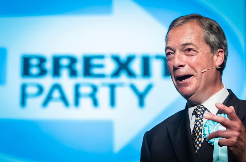 Brexit Party leader Nigel Farage during a rally in Peterborough (Danny Lawson/PA Wire)