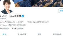 蕭美琴社群平台上自稱駐美大使 堅持「不是自嗨」:工作內容如使館
