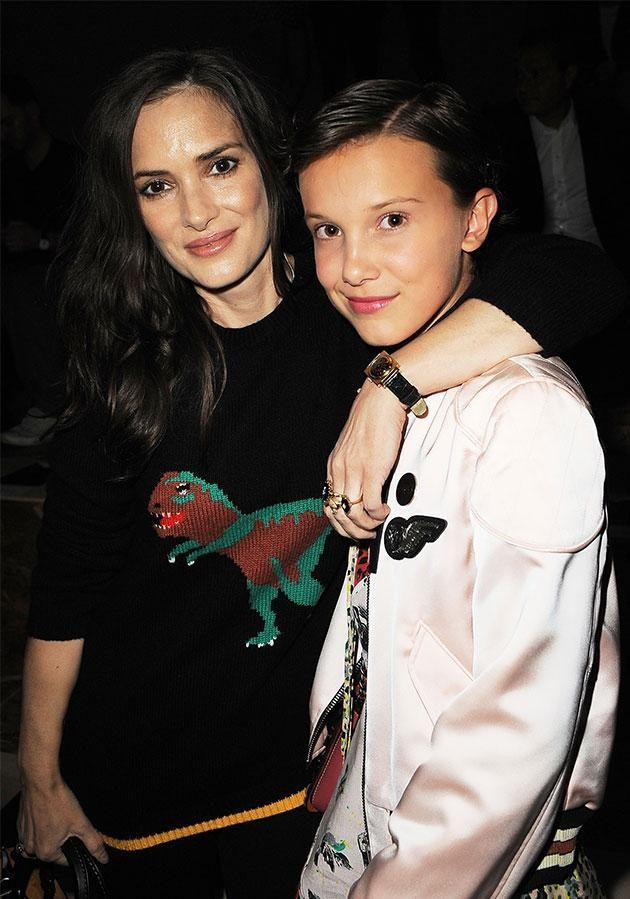 Millie and <i>Stranger Things</i> co-star Winona Ryder. Photo: Getty Images