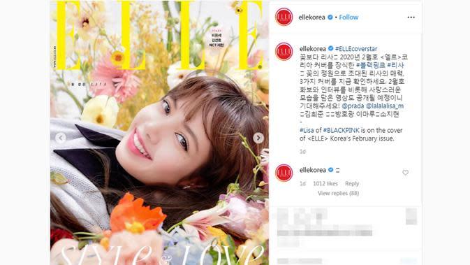Lisa BLACKPINK saat menjadi model di sampul majalah Elle Korea (Screenshot Instagram @ellekorea/https://www.instagram.com/p/B7StXMSAYPi/?hl=en/Putu Elmira)