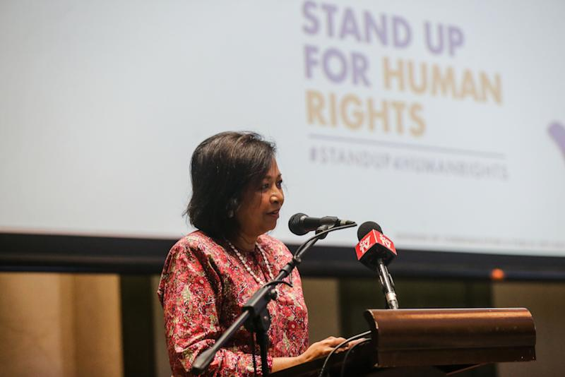 Datin Paduka Marina Mahathir speaks during the Human Rights Day Forum in Kuala Lumpur December 10, 2019. — Picture by Firdaus Latif