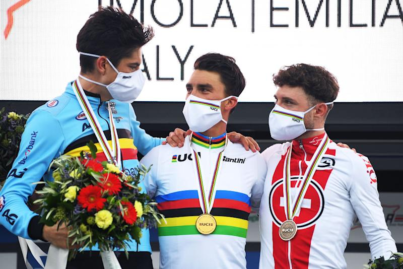 2020 World Championships podium l-r: Wout Van Aert take silver, Julian Alaphiilippe gold, and Marc Hirschi bronze in Imola