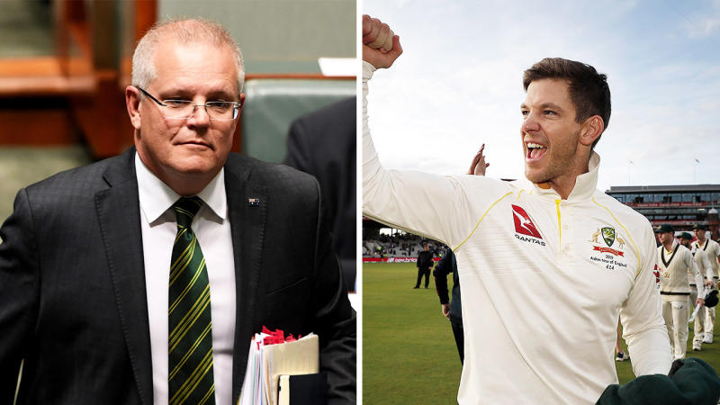 Australian Prime Minister Scott Morrison (pictured left) and captain Tim Paine (pictured right). (Getty Images)