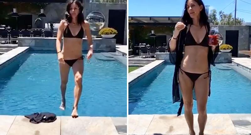 Courteney Cox leaps out of a swimming pool in the unbelievable footage. [Photo: Instagram]