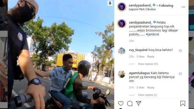 Viral Video Jambret di Medan, Sandy Pas Band: Hati-hati Gees