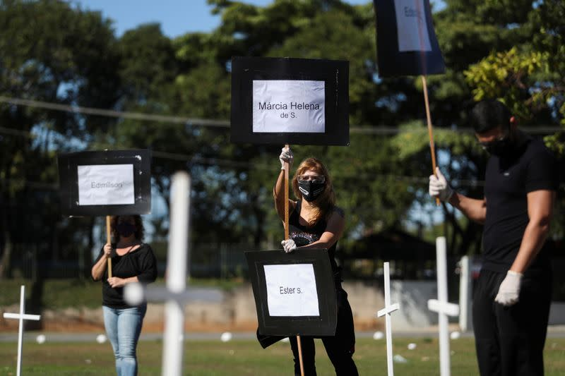 Protest and tribute for health workers who died from the coronavirus disease (COVID-19) in Sao Paulo
