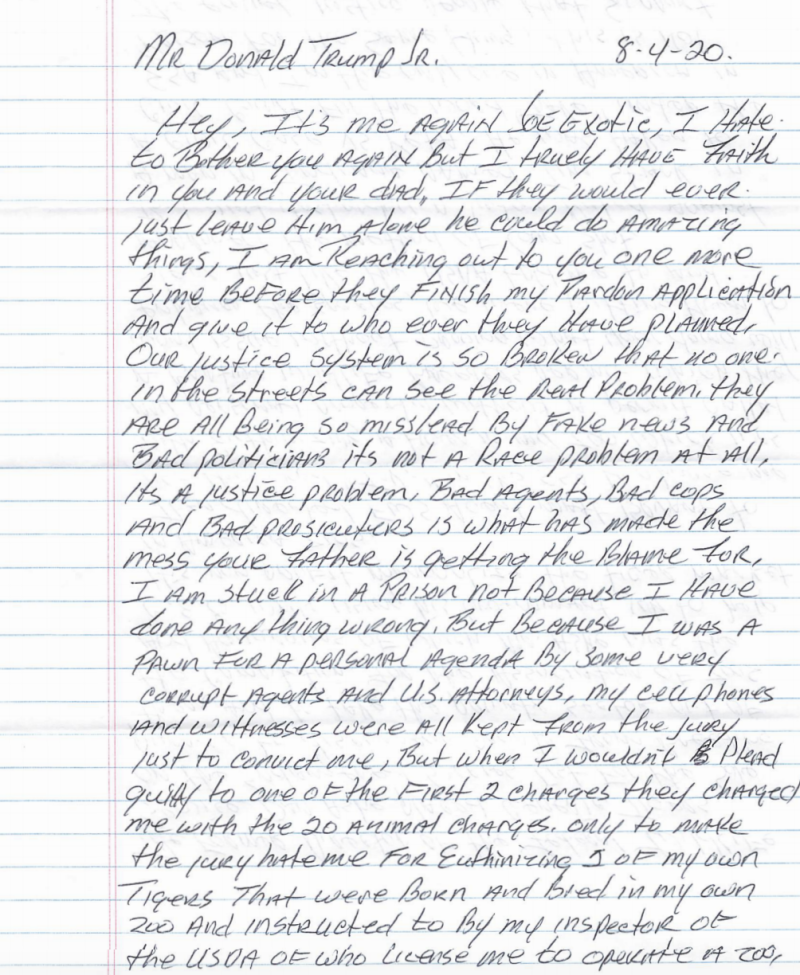 Joe Exotic's letter to Donald Trump Jr. (Courtesy of Joe Exotic)