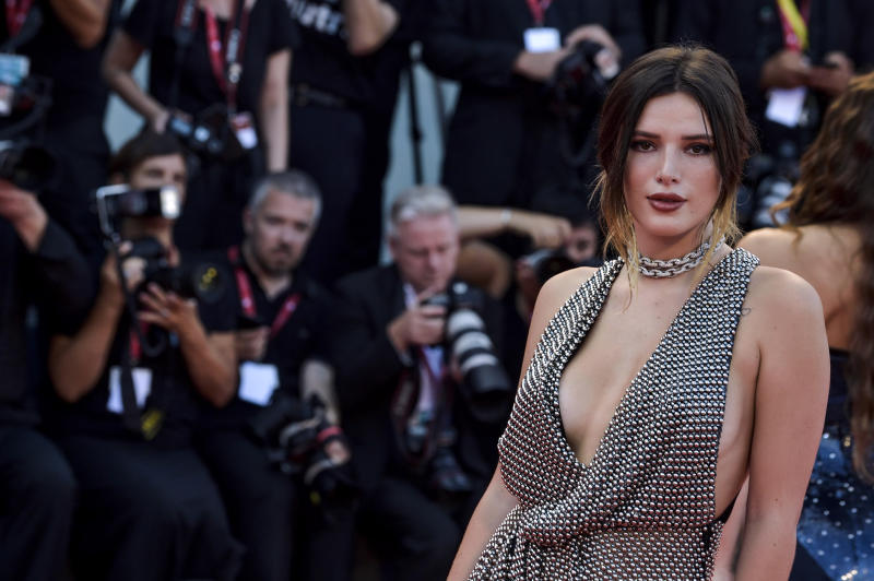 Bella Thorne pictured in naked dress at Venice Film Festival