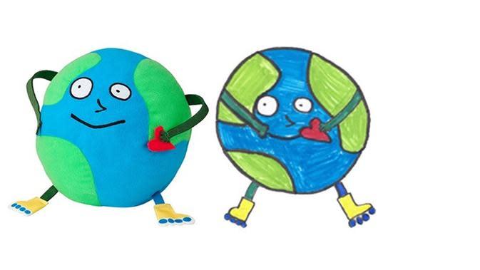 LOVE EARTH dirancang oleh Yo-Pong, 12 tahun, pemenang kompetisi menggambar boneka oleh IKEA. (dok. IKEA)