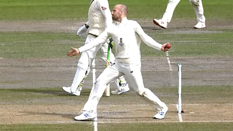 Jack Leach, pictured here bowling a no-ball while dismissing Steve Smith.