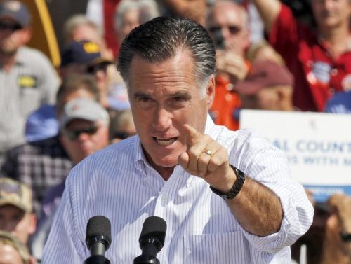 Republican presidential candidate, former Massachusetts Gov. Mitt Romney gestures during a rally in Abingdon, Va., Friday, Oct. 5, 2012.(AP Photo/Steve Helber)