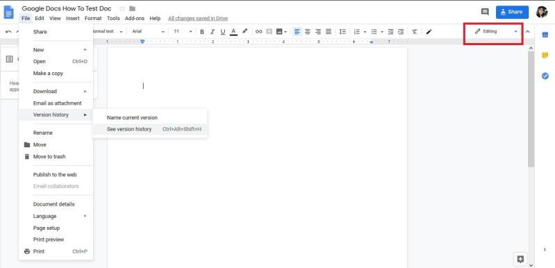 Google Docs Revision History screenshot
