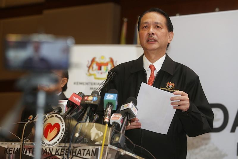 Health director-general Datuk Dr Noor Hisham Abdullah said Malaysia recorded 14 new Covid-19 cases today, 11 of which were local transmissions while three were Malaysians infected while abroad.. — Picture by Choo Choy May