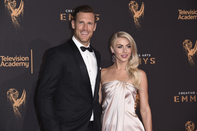 Brooks Laich, left, and Julianne Hough arrive at night one of the Creative Arts Emmy Awards at the Microsoft Theater on Saturday, Sept. 9, 2017, in Los Angeles. (Photo by Richard Shotwell/Invision/AP)