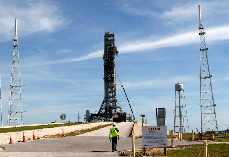 NASA's Space Launch System mobile launcher stands atop Launch Pad 39B for months of testing before it will launch the SLS rocket and Orion spacecraft on mission Artemis 1 at the Kennedy Space Center in Cape Canaveral, Florida, U.S., July 1, 2019. REUTERS/Thom Baur