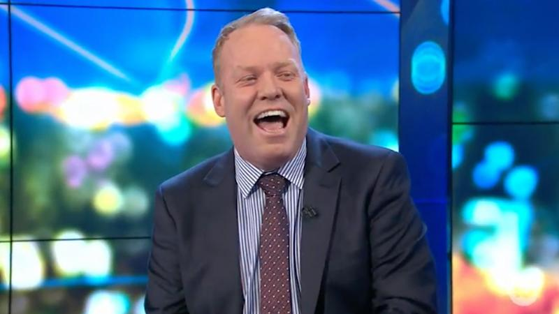 A photo of host Peter Helliar on set of The Project.