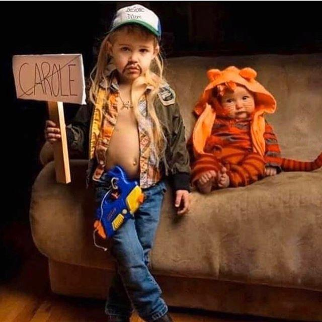 """<p>Though <em>Tiger King</em> isn't exactly a family friendly program, we have to admit this is the most adorable a Joe Exotic costume can get. For a little one, try a <a href=""""https://www.amazon.com/Tonwhar-Unisex-Baby-Costume-Cartoon-Homewear/dp/B01FQU83NE/?tag=syn-yahoo-20&ascsubtag=%5Bartid%7C10055.g.33311235%5Bsrc%7Cyahoo-us"""" target=""""_blank"""">tiger onesie</a>! </p><p><a href=""""https://www.instagram.com/p/B-s2sq7nuKL/&hidecaption=true"""">See the original post on Instagram</a></p>"""