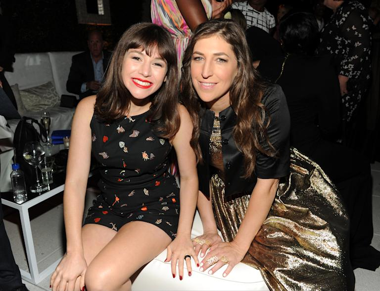 Actress Yael Stone, left, and nominee Mayim Bialik attend the Television Academy's 66th Emmy Awards Performance Nominee Reception at the Pacific Design Center on Saturday, Aug. 23, 2014, in West Hollywood, Calif. (Photo by Frank Micelotta/Invision for the Television Academy/AP Images)