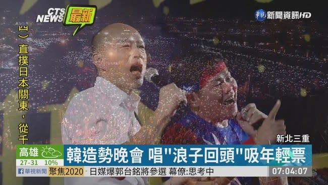 韓國瑜新北造勢 韓粉手機燈海應援
