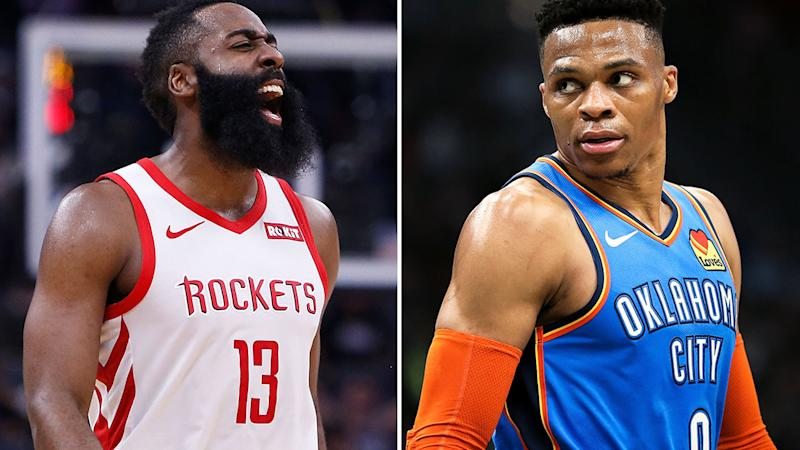 James Harden (left) and Russell Westbrook (right) are former teammates who have reunited for the Houston Rockets.