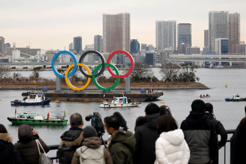 FILE PHOTO: Giant Olympic Rings are installed at the waterfront area at Odaiba Marine Park in Tokyo, ahead of the Tokyo 2020 Summer Olympic Games