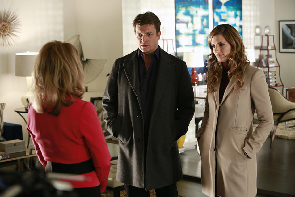 """Castle"" -- ""Reality Star Struck"" GAIL O'GRADY, NATHAN FILLION, STANA KATIC"
