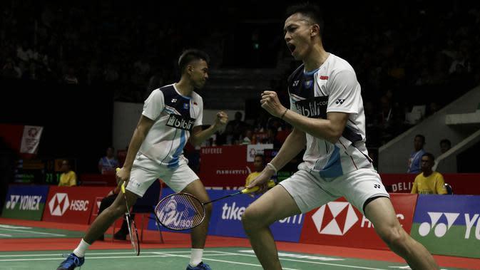 Ganda Putra Indonesia, Fajar Alfian/Muhammad Rian Ardianto. (Bola.com/Yoppy Renato)