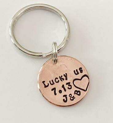 Hand stamped four leaf clover penny charm great for adding to a keychain or necklace wedding or anyone who could use a little luck