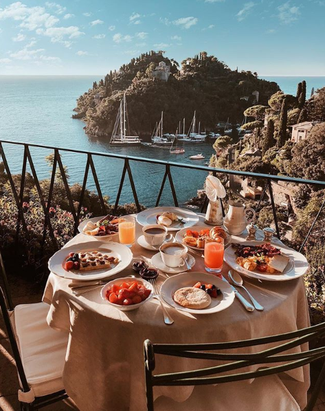The terrace at Belmond Splendido, an iconic influencer spot.