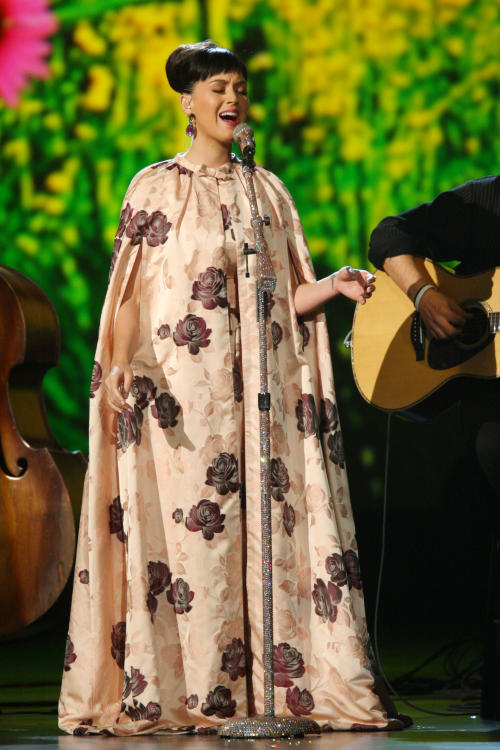 Katy Perry performs at the night that changed America: a Grammy salute to the Beatles, on Monday, Jan. 27, 2014, in Los Angeles. (Photo by Zach Cordner/Invision/AP)