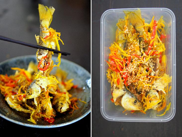 The draw of this 'acar hu' is the use of 'ikan belanak' or mullet (left). For RM35, you get around 300 grams of fish pickled with ginger, chillies, turmeric and garlic (right)