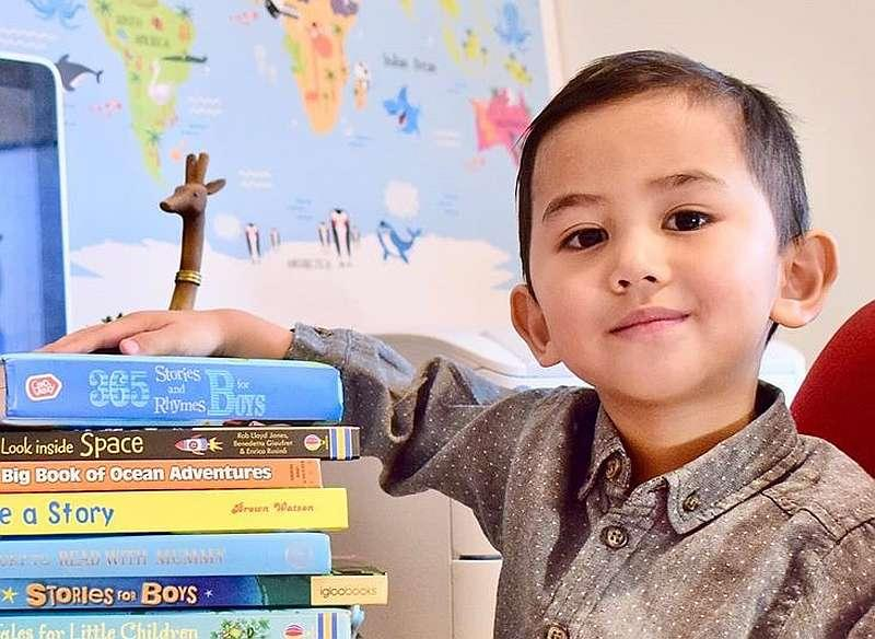 Muhammad Haryz Nadzim Mohd Hilmy Naim started reading himself bedtime stories from the age of two. — Picture via Facebook/aniraaasyikin