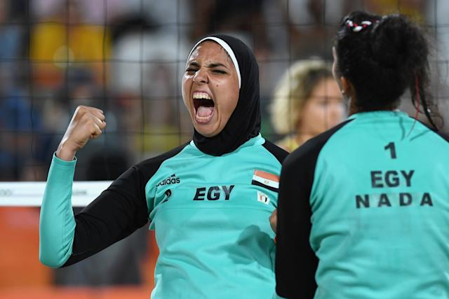 Doaa Elghobashy of Egypt reacts during a Women's Beach Volleyball preliminary game. (Photo: Getty Images)