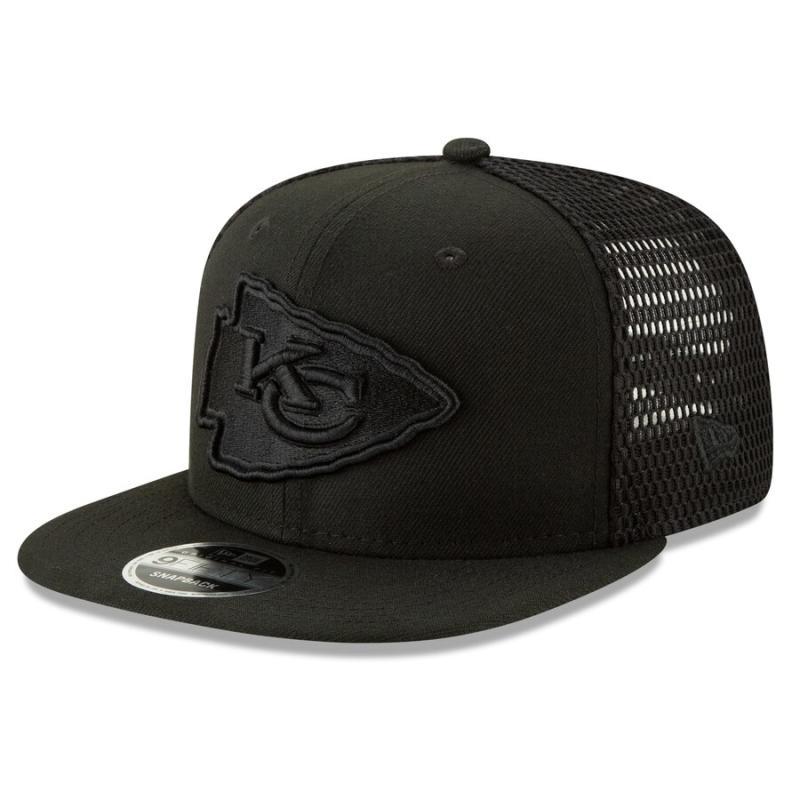Men's New Era Black Kansas City Chiefs Mesh Fresh Tonal 9FIFTY Adjustable Snapback Hat