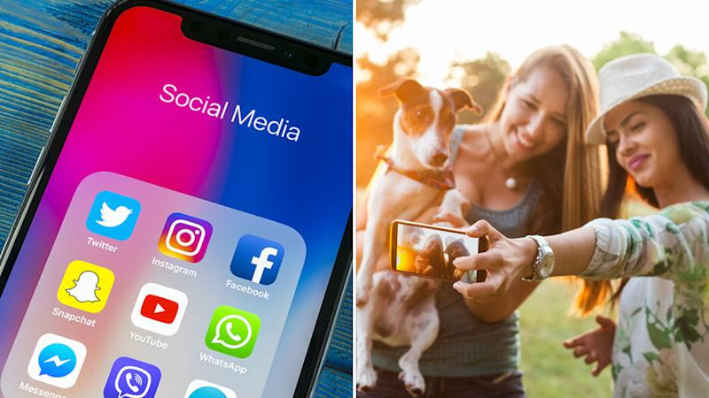 Social media icons on a mobile phone (left) and two women taking a photo with a dog (right).