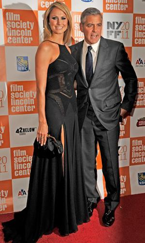 George Clooney Publicly Acknowledges Stacy Keibler on the Red Carpet