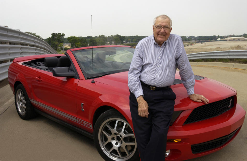 2007 Ford Shelby GT500: Carroll Shelby takes a break from test-driving a convertible version of the 2007 Ford Shelby GT500 at Ford's Dearborn Proving Ground. (9/29/05)
