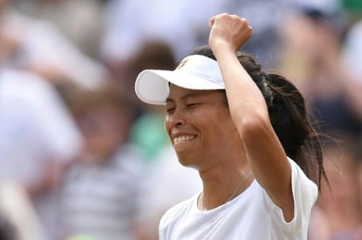 Taiwan's Hsieh Su-Wei celebrates her Wimbledon stunner against Simona Halep
