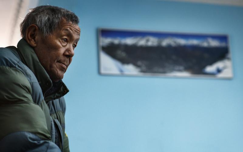 Ang Rita Sherpa, 69, at his home in Kathmandu, May 2017 - Narendra Shrestha/EPA/Shutterstock
