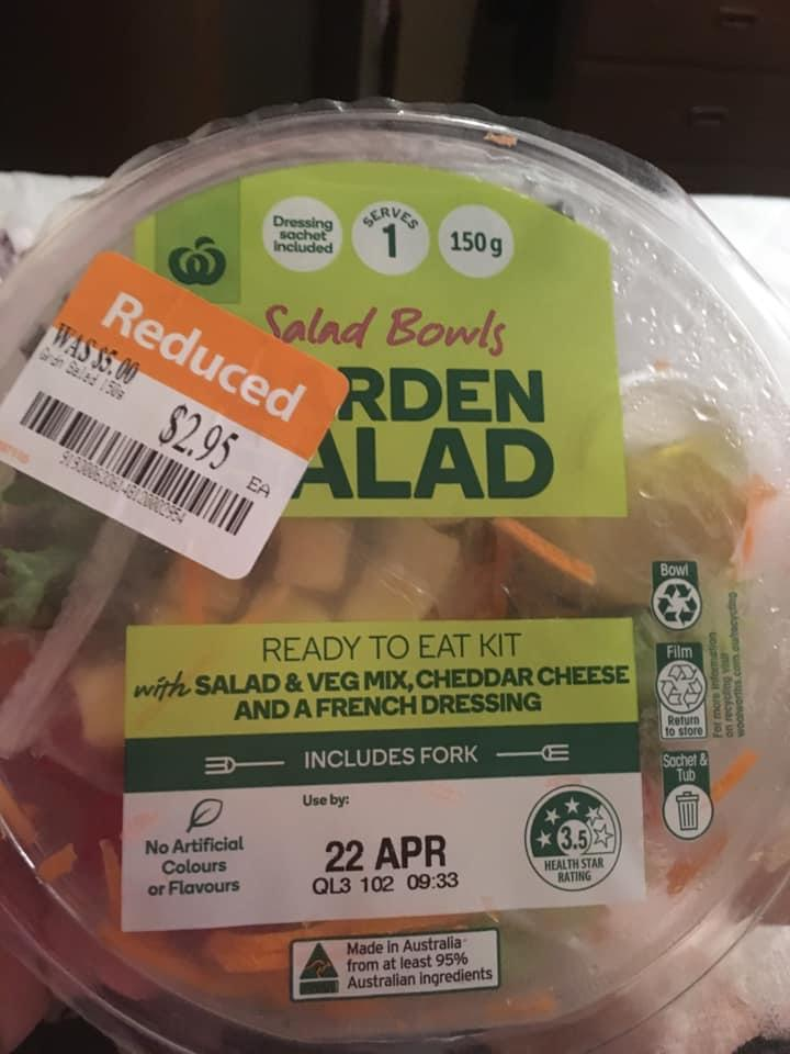 A Sydney woman says she found a safety pin in a ready-made salad she purchased from Woolworths. Source: Facebook