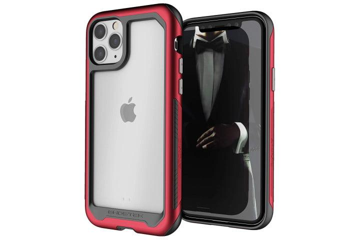 Photo shows an iPhone 11 Pro in a red and black Atomic Slim case from Ghostek