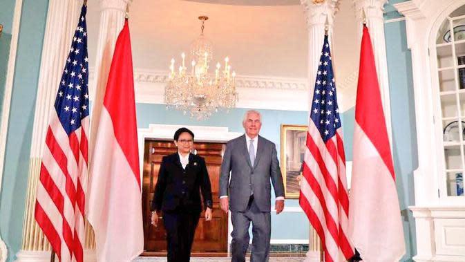 Menteri Luar Negeri RI Retno Marsudi dan Menteri Luar Negeri AS Rex Tillerson (Kemlu RI, US Department of State, KBRI)