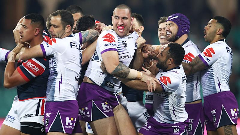 Nelson Asofa-Solomona and Siosiua Taukeiaho, pictured here during the scuffle.