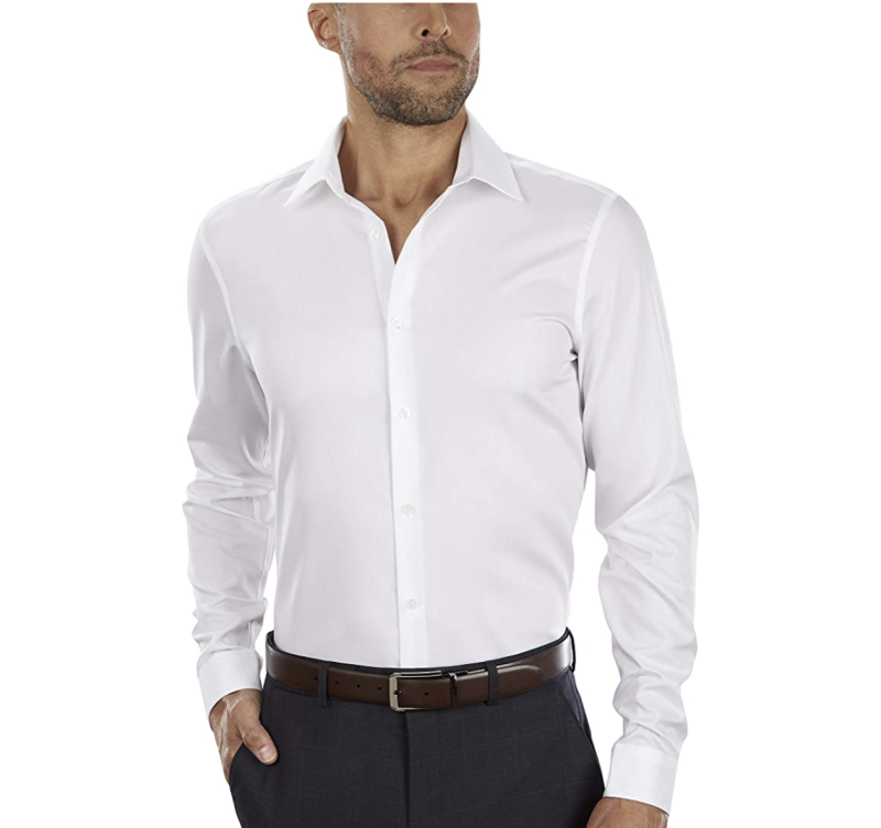 Calvin Klein Men's slim-fit non-iron herringbone dress shirt. (PHOTO: Amazon)