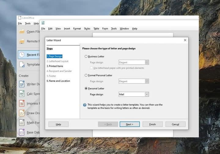LibreOffice Wizard screenshot