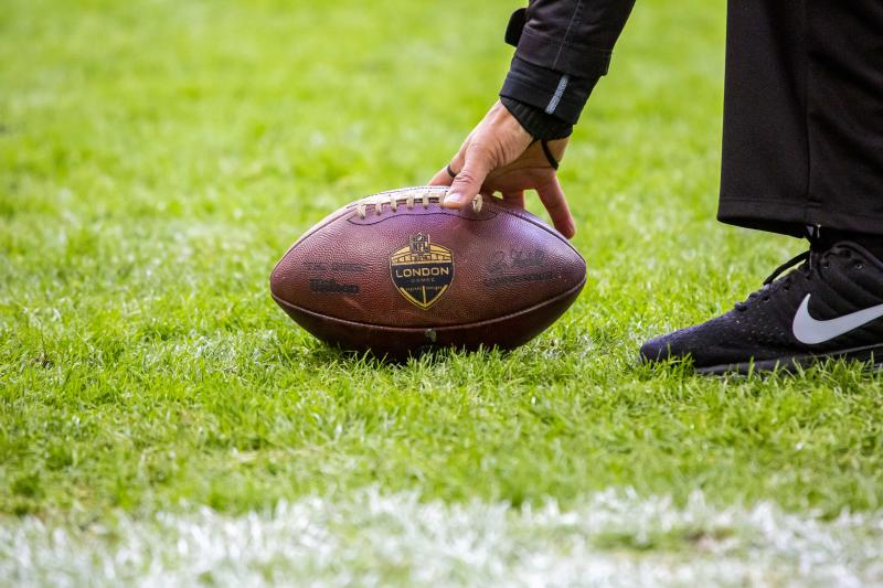 LONDON, ENG - OCTOBER 28: A ball ends up in the end zone and is picked up by a referee during the NFL game between the Philadelphia Eagles and the Jacksonville Jaguars on October 28, 2018 at Wembley Stadium, London, England. (Photo by Martin Leitch/Icon Sportswire via Getty Images)