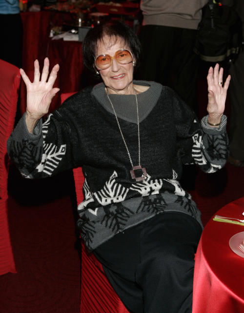 FILE - In this March 3, 2006 file photo, former president of the Academy of Motion Picture Arts and Sciences, Fay Kanin, poses for a photo during the foreign language film award reception at the Academy of Motion Picture Arts and Sciences, in Beverly Hills, Calif. The Academy confirmed Kanin's death Wednesday, March 27, 2013. She was 95. The Emmy-winning and Oscar-nominated screenwriter served as president of the film academy from 1979 to 1983. (AP Photo/Danny Moloshok, File)