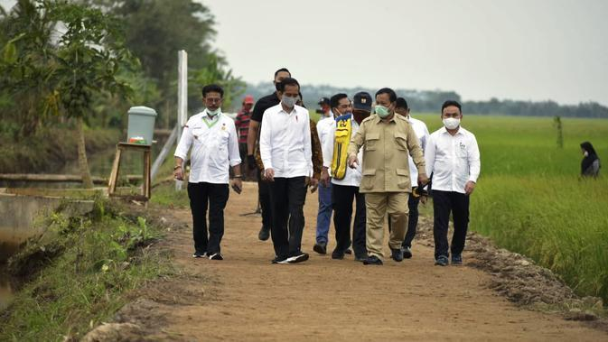 Menteri Pertanian, Syahrul Yasin Limpo (SYL) mendampingi Presiden Joko Widodo meninjau lokasi lahan rawa pengembangan food estate atau lumbung pangan dan saluran primer induk UPT A5 di Kapuas.